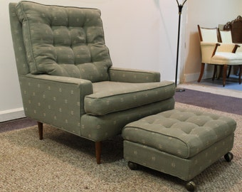 Mid Century Danish Modern Selig Arm Club/Lounge Chair/Ottoman