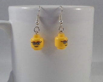 Glasses head earrings made from real Lego bricks, Quirky spectacle wearer gift, Original present, Nerd gift idea, Best friend gift