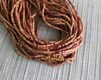 3-4mm Caramel Brown Coconut Shell Heishi Beads - Dyed and Waxed - 23 inch strand - 3CH3-7