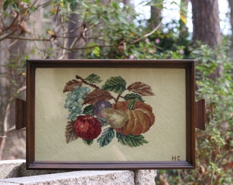Vintage Wood and Needlepoint Serving Tray / Fruit Needlepoint Tray / Needlepoint Glass Tray