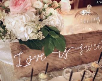 Custom made calligraphic antique wood wedding sign