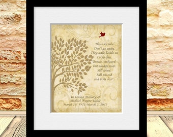 Memorial Gift, In Memory of Wall Print, Funeral Gift, Gift for Wake, Poem for the Loss of a Loved One, Family Tree Memorial Gift
