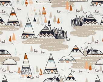 Mountains, Teepee, Navy, Tan, Orange, Indian Summer Woodland Oak, Arrows, Tribal, Cotton Fabric, By the Yard, Half Yard, Quarter Yard