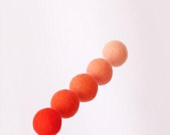 Orange/Green Gobbi Mobile Made of Natural Wool Balls Felted Wool Balls