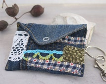 Appliquéd jeans keychain wallet, Hand sewn eco friendly upcycled denim business cards purse, Headphones textile art organiser