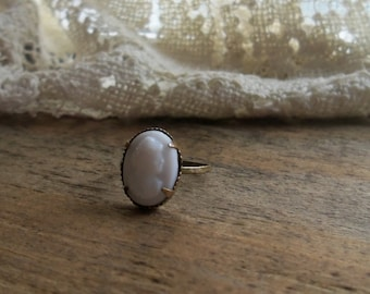 Tiny Child's Antique Brass and White Cameo Ring Size 3 1/2
