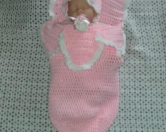 baby crochet cocoon & beanie hat