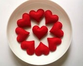 Hearts to Valentine :) Christmas ornaments .Red felt hearts.Valentines day gift. Ten pieces red felt hearts.