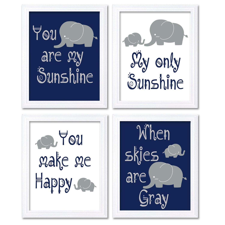 Elephant Nursery Art Navy Blue Grey You Are My Sunshine Set of 4 Prints Child Baby Nursery Wall Deco
