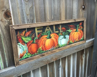 Fall decor,pallet wood frame,Fall art ,hand painting on the window screen,original art,handmade and hand painted