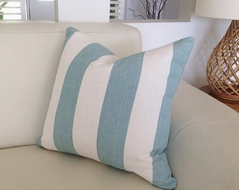 Coastal Cushions Striped Pillow, Cushion Cover, Vertical Stripe Aquamarine Beach Decor Blue and White Stripes Ocean Blue Designer Pillows