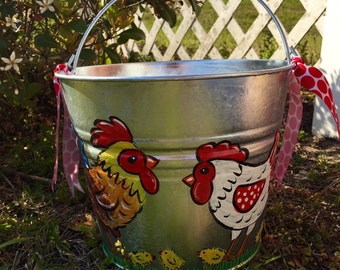 Hand Painted Personalized Galvanized Bucket
