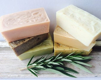Soap Bars Set of 3. Handmade. Plant-Based. Natural. Cruelty-Free. Choose from 8 Blends:  Vegan, Scented, Unscented, Scrub.  Gift Soap.