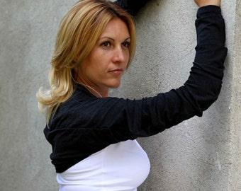 Shrug Bolero, Long Sleeved Shrug, Extravagant Ivory, Black or Grey Cotton Top  by JMSTYLE
