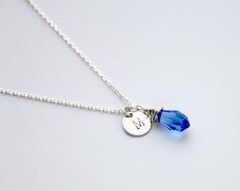 Initial necklace, September birthstone, birthstone necklace, sterling silver, Swarovski, Sapphire, personalised jewellery, silver necklace