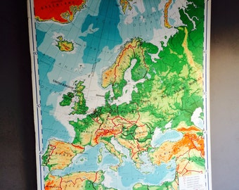 Large Vintage Wall Map of Europe // Canvas Roll-out Map // Vibrant Colors