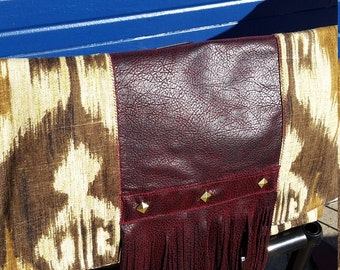 Oversized Clutch- Burgundy Fringe
