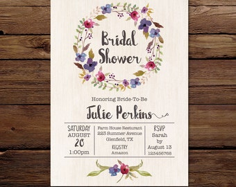 Bridal Shower Invitation - Floral wreath Invitation - Personalised Invitation - Printable Invitation - Digital - Bridal Shower Invitation