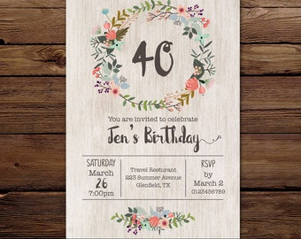 Birthday Invite, Floral wreath Invitation,  Printable Invitation, Digital invite, birthday floral invite,  any age, personalised invitation