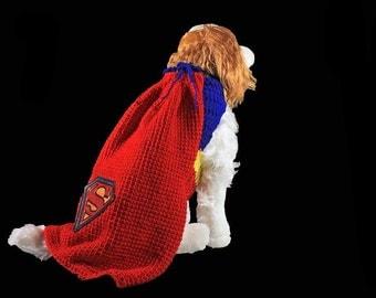 Superman Pet Costume, Fits 10-20 lb. Pet, Dog Costume, Cat Costume, Superhero, Crochet, Hand Tooled Leather, Photo Prop, Halloween Costume