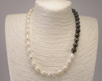 Murano Glass & Freshwater Pearls, Venetian Jewel, Pearls Necklace, Sterling Silver