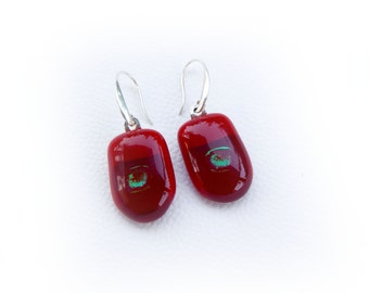 Red  fused glass Earrings