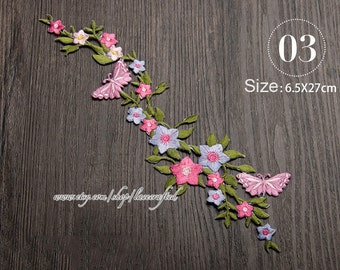 1 pc Large Butterfly Flower Embroidery Appliques Patch Lace Trim, Shabby Chic Flower Patch, Iron on Applique
