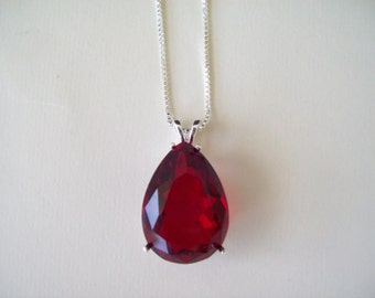 XL Ruby/Garnet Red Pear Gemstone Pendant in Sterling SIlver with Chain 25x18mm