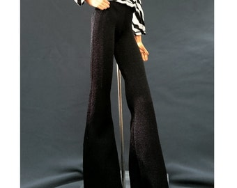 Wide leg flared trousers bell bottom pants for Barbie, FR doll - 1128-03