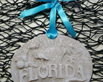 FLORIDA MEMORIES Palm Trees, Sunset Made with Sand Ornament