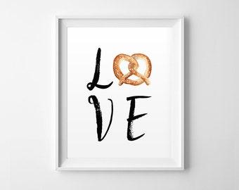 Love Pretzel Print, Pretzel Wall Art, Watercolor, Pretzel Illustration, Kitchen Pretzel Print, Watercolor, Wall Art, Love Poster, Home Decor