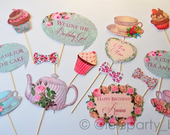 Digital file - DIY Printable Tea Party Birthday Photo Booth Props