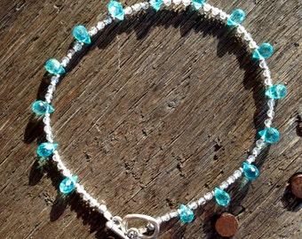 Blue Topaz and Crystal Quartz Bracelet