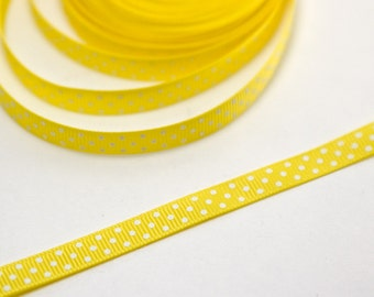 Yellow and White Spotted Grosgrain Ribbon - Spot Ribbon - Polka Dot Ribbon - Yellow Ribbon - Yellow Spotted- Spots trim - Sewing ribbon 10mm
