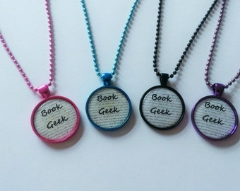 "YOU PICK ""Book Geek"" Necklace"