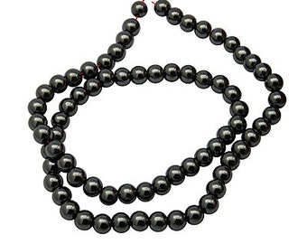 Hematite Bead Strand - Non-magnetic, AAA Grade Round Beads, Black, Size about 4mm hole: 1mm, about 102pcs/strand 16 inches   #073
