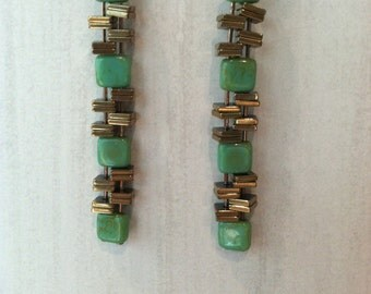 Green turquoise and metallic stacked dangles