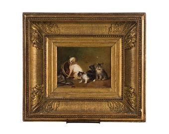 19th century Oil Painting -Cute Puppy dog and Kittens playing