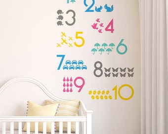 One to Ten Numbers Wall Sticker - Nursery Wall Decal - Baby's Room Decor