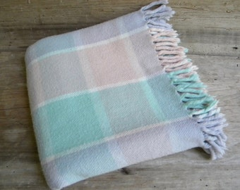 Vintage Faribo Pink Purple and Green Plaid Stadium Blanket  / Throw / Baby Blanket / Pastel Faribo Throw / Made in USA