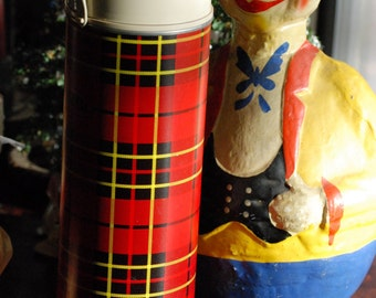 Drink Thermos in Red Plaid