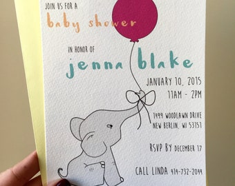 Elephant with Balloon Baby Shower Invite