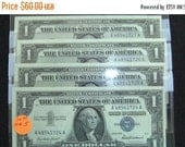 On Sale 1957 Silver Certificates  (4) Crisp, Uncirculated, Sequential Serial Number