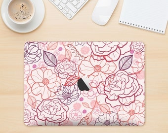 The Subtle Pink Floral Illustration Skin Kit for the Apple MacBook Air - Pro or Pro with Retina Display (Choose Version)