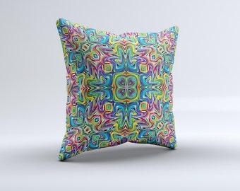 The Crazy Neon Mirrored Swirls ink-Fuzed Decorative Throw Pillow