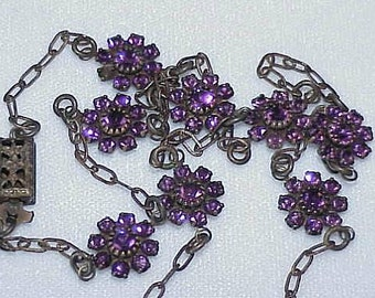 Liz Paiacious of SF Original Necklace with an attached Pierced Medallion on a 8 Amethyst Swarovski Crystals Clustered Flowered Chain
