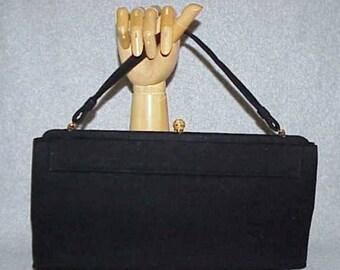 Elegant Large Lewis Evening Handbag Black Wool with Gold Plated Closure