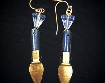 Writing quill dangle earrings