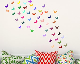 Butterflys set of 48 butterflies colourful decal stickers