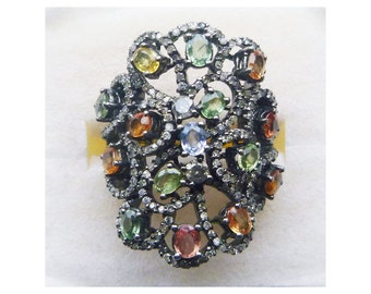 Custom multi color fancy sapphire and pave diamond 18k antiqued gold statement ring size 7.75